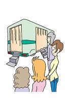 イラスト レントゲン検診車に並ぶ人達