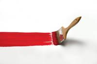 赤い絵の具と刷毛