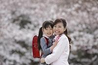 桜と新入学の赤いランドセルの女の子と母親