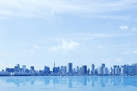 東京都 レインボーブリッジ遊歩道 東京湾臨海エリアのビル群