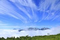 長野県 北アルプス 爺ヶ岳中腹より見る山並み