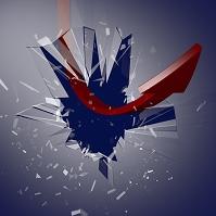 ガラスを突き破る矢印