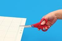 ハサミで紙を切る