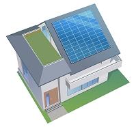 太陽パネルのついた家