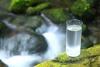 渓流沿いに置かれたグラスの水