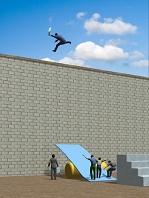シーソーからジャンプして壁を越える