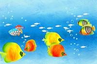 水中を泳ぐ熱帯魚のイラスト