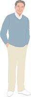 ニットを着たアクティブシニアの日本人男性