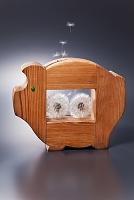 ブタの貯金箱から飛び出しているタンポポの綿毛