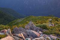 南アルプス小仙丈ヶ岳のガレ場と雷鳥