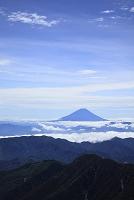 静岡県と山梨県の県境 間ノ岳から望む富士山と雲海の山並み