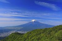 山梨県 三ツ峠山 残雪, 富士山と新緑の山並み