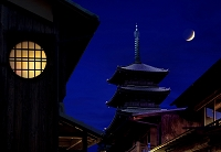 町家と五重塔の夜景 (CG)