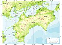 四国地方 地勢図