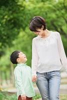 新緑の中を歩く笑顔の日本人親子