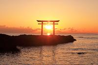 茨城県 日の出と大洗磯前神社の神磯の鳥居