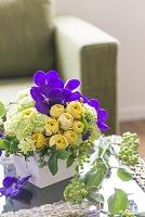 紫と黄色のアレンジメント