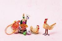 きびがら細工鶏と正月飾り