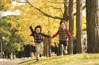 イチョウ並木で走る日本人の子供
