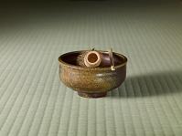 備前焼茶碗(陶仙作)と茶筅と茶杓