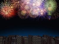 ビル群と花火