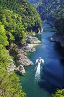 和歌山県 新緑の瀞八丁とウォータジェット船 瀞峡