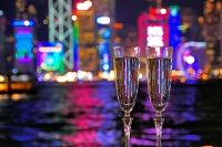 中国 香港 夜景とビクトリアハーバーのペアグラス