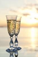 シャンパンと夕日