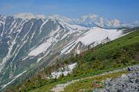 長野県 爺ケ岳南尾根から岩小屋沢岳の稜線と剣岳