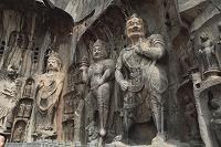 中国 奉先寺の天王像と盧舎那仏座像