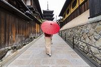 京都夢見坂を明る着物の日本人女性