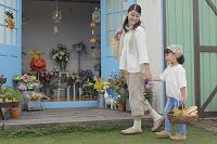 ハロウィンと花屋に来た日本人親子