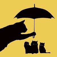 傘をさすネコのシルエット