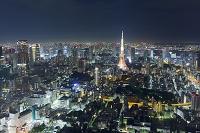 東京都 東京タワーと都市ビルの夜景