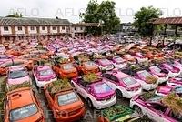 タイのタクシーで野菜農園