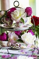 ティーカップの花飾り