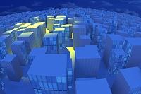 スポットライトで照らされるビル群 CG
