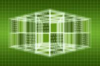 光る立体的な四角形と二進法 CG