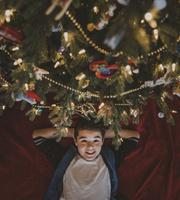 クリスマスツリーを見上げる子供