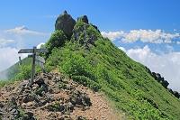 山梨県 八ヶ岳連峰 権現岳と富士山遠望
