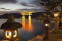 広島県 宮島 暮色の厳島神社大鳥居