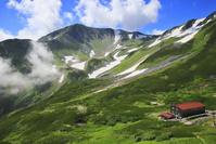 富山県 北アルプス剱岳登山道より望む剣山荘と剱澤方面の山並み