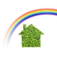 切り絵のエコ住宅と虹
