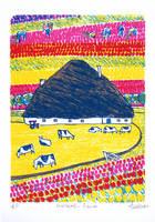 オランダの農家とチューリップ畑(リトグラフ)