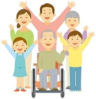 車椅子に乗る祖父と三世代家族