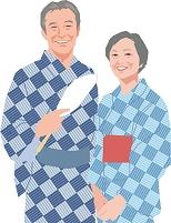 温泉旅行を楽しむアクティブシニア夫婦
