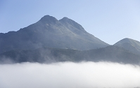 大分県 朝霧がたなびく由布岳