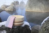 北海道 露天風呂と桶
