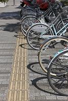 千葉県 歩道の点字ブロックと違法駐輪の自転車