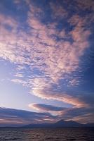 福島県 猪苗代湖と磐梯山夕焼け